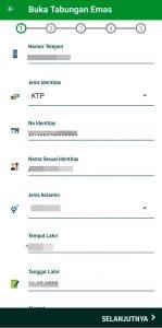 Pengisian Data Pribadi Buka Tabungan Emas Pegadaian