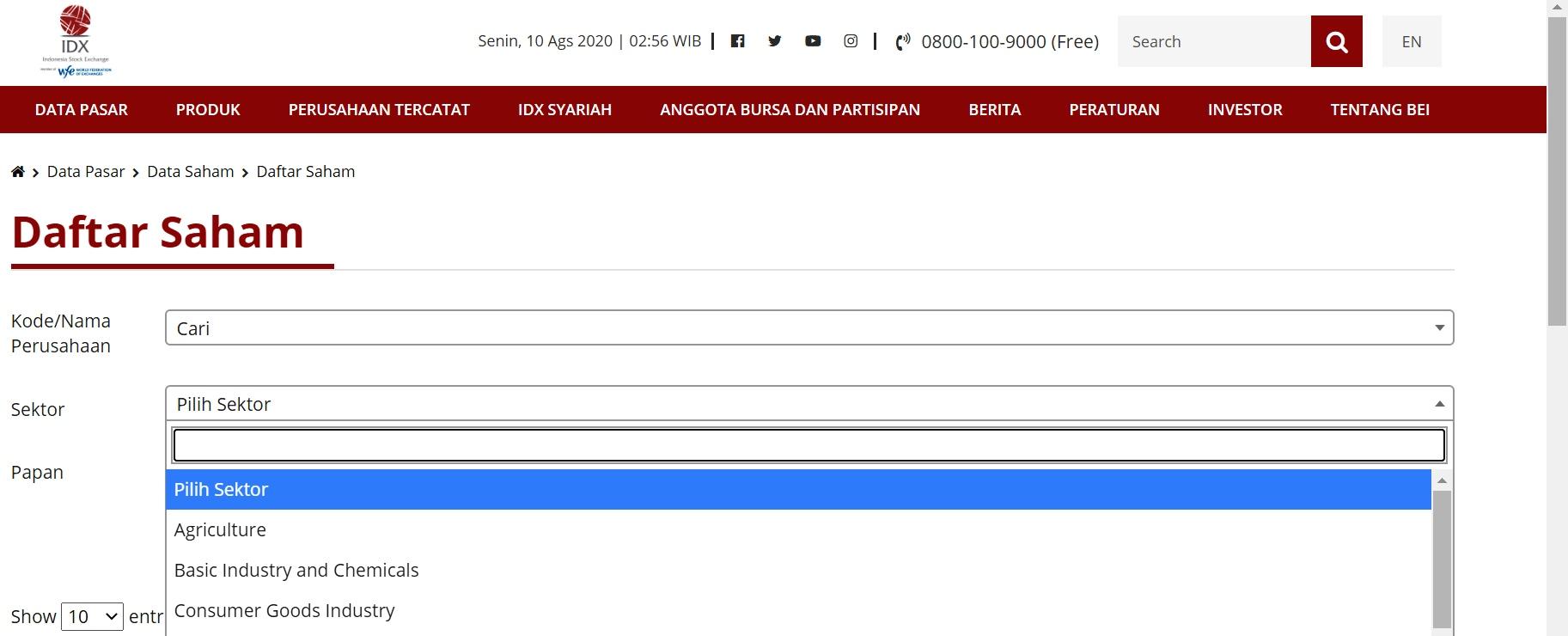 Sektor Saham di Bursa Efek Indonesia/BEI